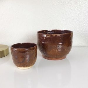 handmade glazed pottery ceramic planter set